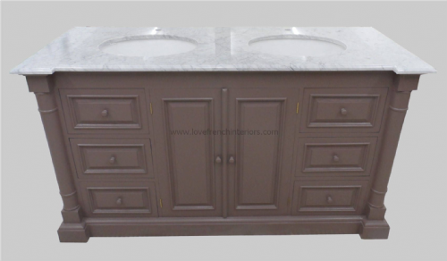 Bespoke Double Sink Vanity Unit with Solid Marble Top